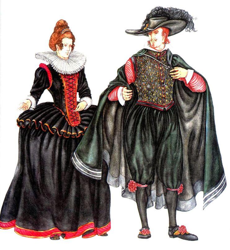 30 май 2013 Испанский женский и мужской костюм 16 века Во второй половине X
